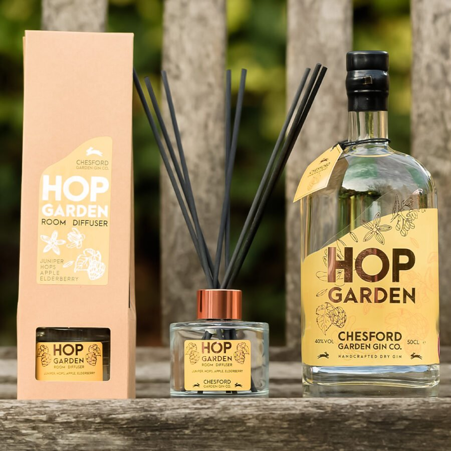 Hop Garden Gin - 50cl and Room Diffuser Gift Bundle | Handcrafted Gin | Award-Winning Chesford Garden Gin